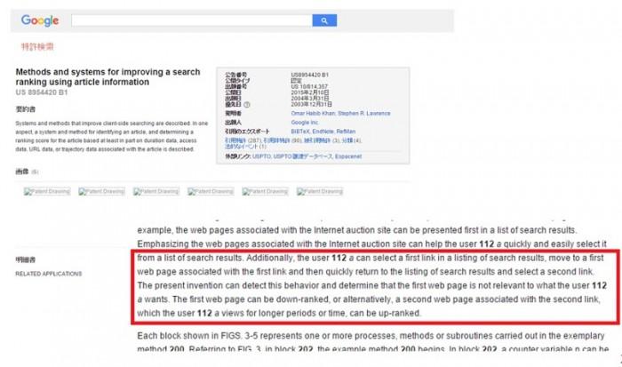 CTRを検索結果の評価に用いる手法に関するGoogleの特許論文